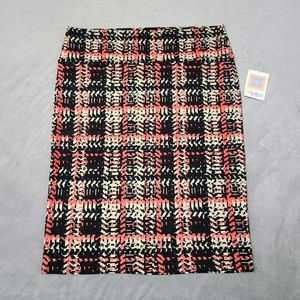 NWT Lularoe 3XL Pink Cream Black Cassie Skirt